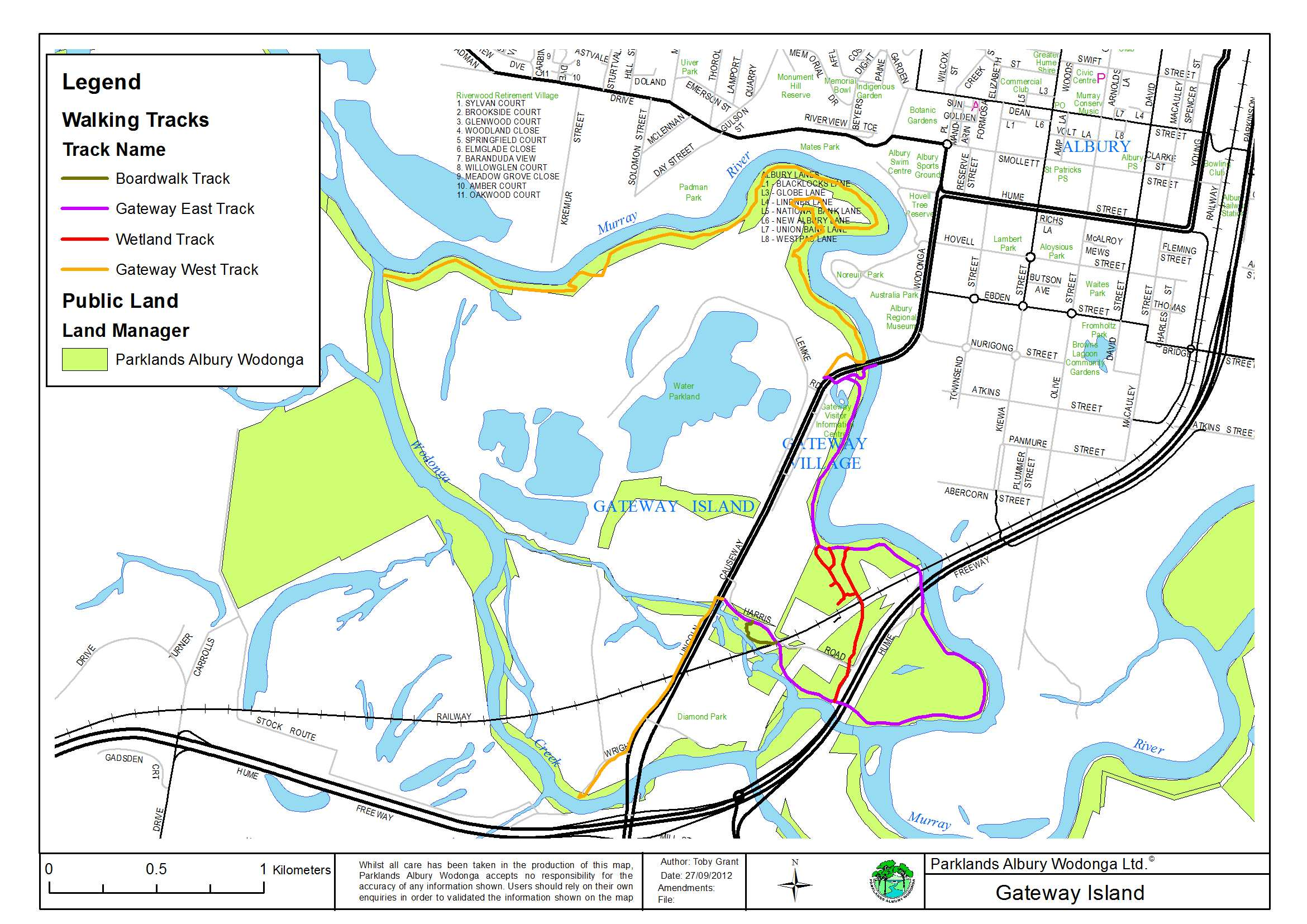 Map Gateway Island Parklands Albury Wodonga